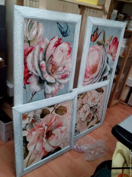 Картины цветов ручной работы. Ярмарка Мастеров - ручная работа. Купить Картины парные 60х60_в деревянном багете_Белые цветы PF0152. Handmade.