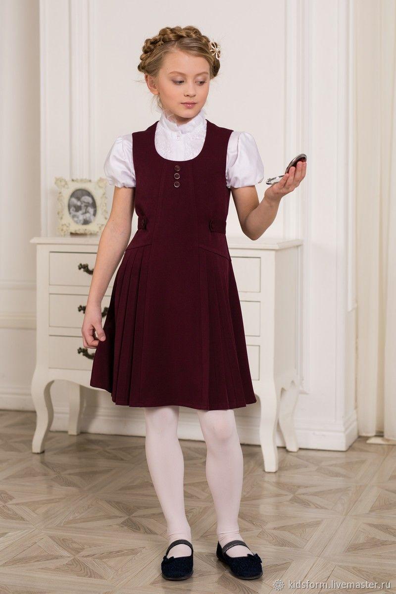 Бордовый школьный сарафан для девочки, Платья, Москва,  Фото №1