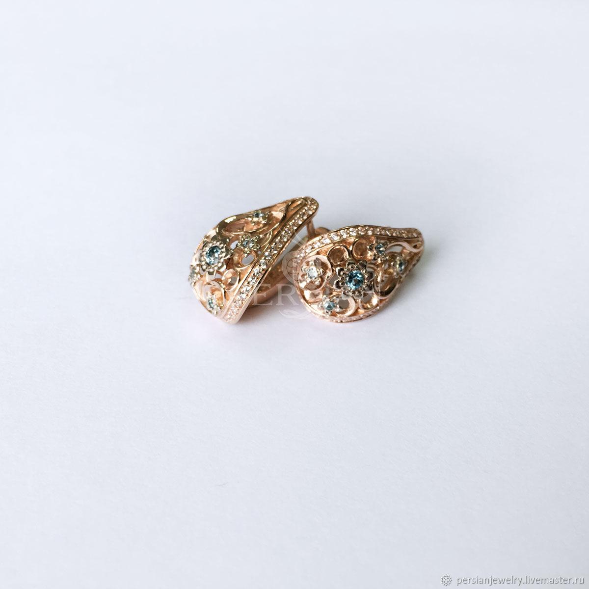 Women's gold earrings with stones, Earrings, Sevastopol,  Фото №1