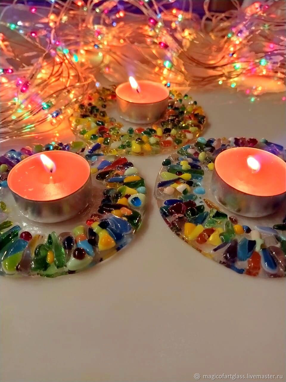 A candle holder made of art stained glass of Ice-fusing, Candlesticks, Khabarovsk,  Фото №1
