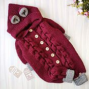 Одежда детская handmade. Livemaster - original item Children`s knitted jumpsuit burgundy grey. Handmade.