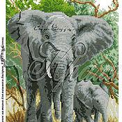Материалы для творчества ручной работы. Ярмарка Мастеров - ручная работа Слониха и слоненок. Рисунок на ткани для вышивки бисером. Handmade.