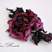Украшения handmade. Livemaster - original item Rose leather Marsala and purple flower Brooch. Handmade.