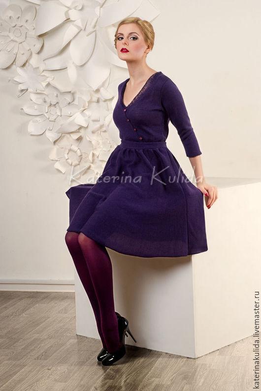 Платья ручной работы. Ярмарка Мастеров - ручная работа. Купить Платье цвета черники. Handmade. Тёмно-фиолетовый, вязаное платье