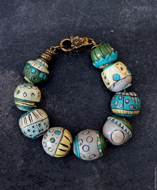 Браслеты ручной работы. Ярмарка Мастеров - ручная работа. Купить браслет из полимерной глины наивные бусины. Handmade. Тёмно-бирюзовый