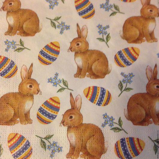 Салфетка для декупажа -Зайчики и яйца...пасхальные Декупажная радость