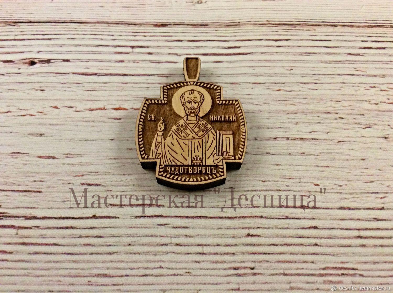 Крестик нательный деревянный (Николай Чудотворец), Крестик, Симферополь,  Фото №1