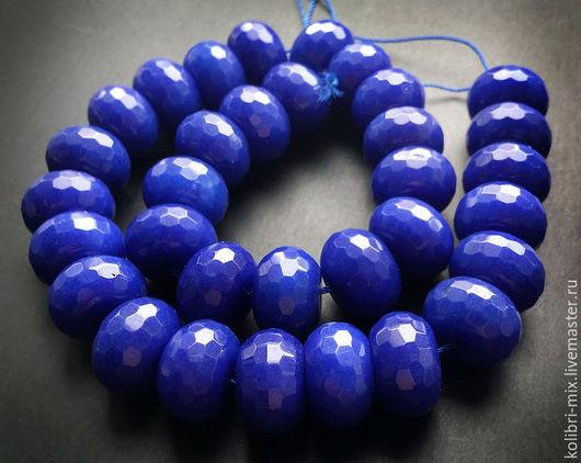 Для украшений ручной работы. Ярмарка Мастеров - ручная работа. Купить бусины тонированный нефрит крупный. Handmade. Синий, бусины