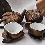 """Посуда ручной работы. Ярмарка Мастеров - ручная работа """"Лесные яблоки"""", чайный сервиз на два лица. Handmade."""