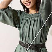 Одежда handmade. Livemaster - original item dresses: Green summer dress made of linen and silk. Handmade.
