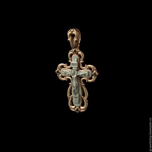 Кулоны, подвески ручной работы. Ярмарка Мастеров - ручная работа. Купить Крест золотой православный с белой эмалью. Handmade. Золотой