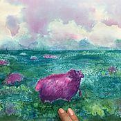 Картины и панно ручной работы. Ярмарка Мастеров - ручная работа Акварель море «Морская овечка» овца. Handmade.