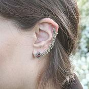 handmade. Livemaster - original item Cuff Flower Earring in 925 Sterling silver GA0030-2. Handmade.