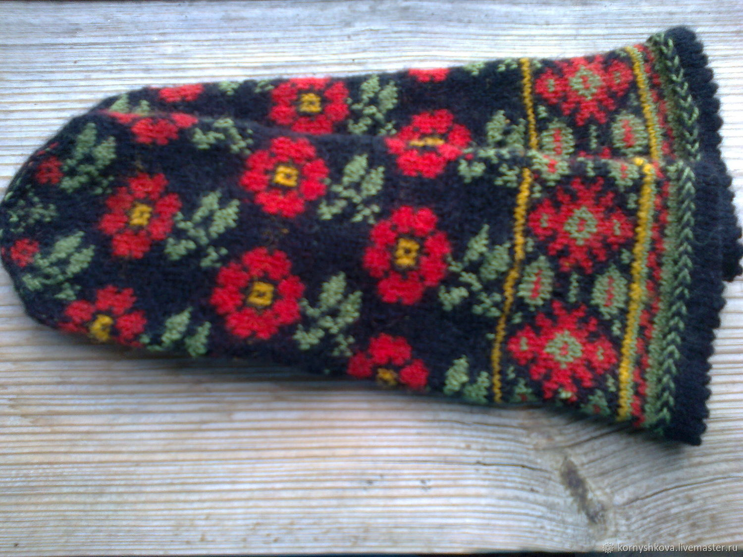 Mittens 'Red flowers', Mittens, Saransk,  Фото №1
