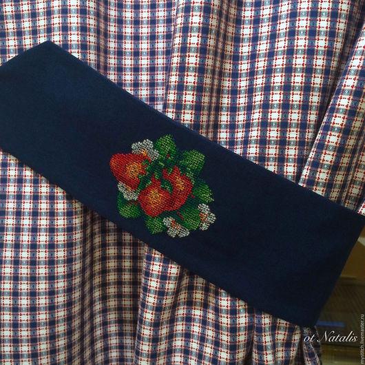 """Текстиль, ковры ручной работы. Ярмарка Мастеров - ручная работа. Купить Шторы с вышивкой """" Аромат клубники"""". Handmade. Синий"""