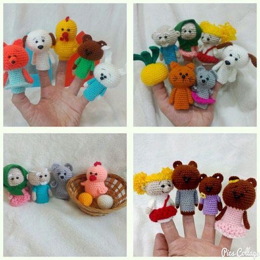 Кукольный театр ручной работы. Ярмарка Мастеров - ручная работа. Купить Большой набор героев для пальчикового театра. Handmade.