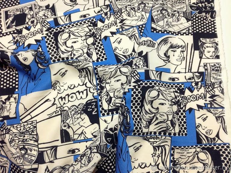 Шитье ручной работы. Ярмарка Мастеров - ручная работа. Купить Плательный креп-кади 'Комиксы', MSGM. Handmade. Итальянские ткани