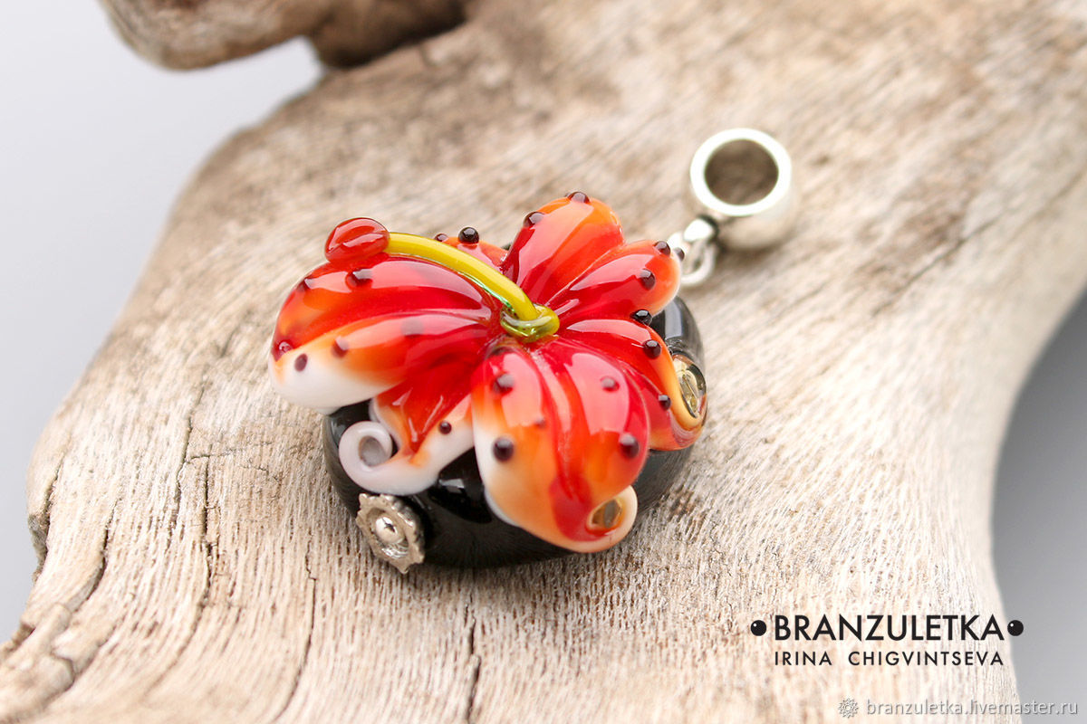 Tiger Lily - Lampwork Glass Flower Pendant - Red Black Orange, Pendants, Moscow,  Фото №1
