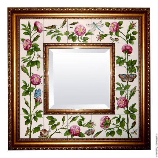 """Зеркала ручной работы. Ярмарка Мастеров - ручная работа. Купить """"Розовый сад"""". Handmade. Зеркало, роспись, краски под обжиг"""