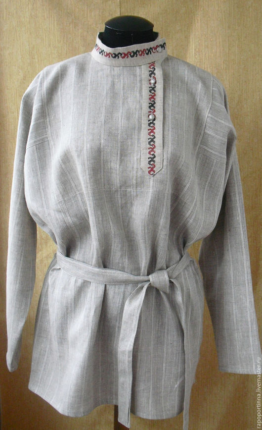 Одежда ручной работы. Ярмарка Мастеров - ручная работа. Купить Косоворотка льняная. Handmade. Серый, русская льняная рубаха
