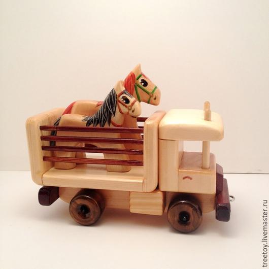 Техника ручной работы. Ярмарка Мастеров - ручная работа. Купить Машинка с лошадками. Handmade. Машинка деревянная, машинка, конь