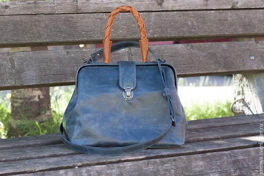 Женские сумки ручной работы. Ярмарка Мастеров - ручная работа. Купить Саквояж. Handmade. Синий, сумка на каждый день, металлофурнитура