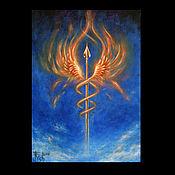 """Картины и панно ручной работы. Ярмарка Мастеров - ручная работа """"Валькирия. Пламенное сердце"""" - коллекционная картина. Handmade."""