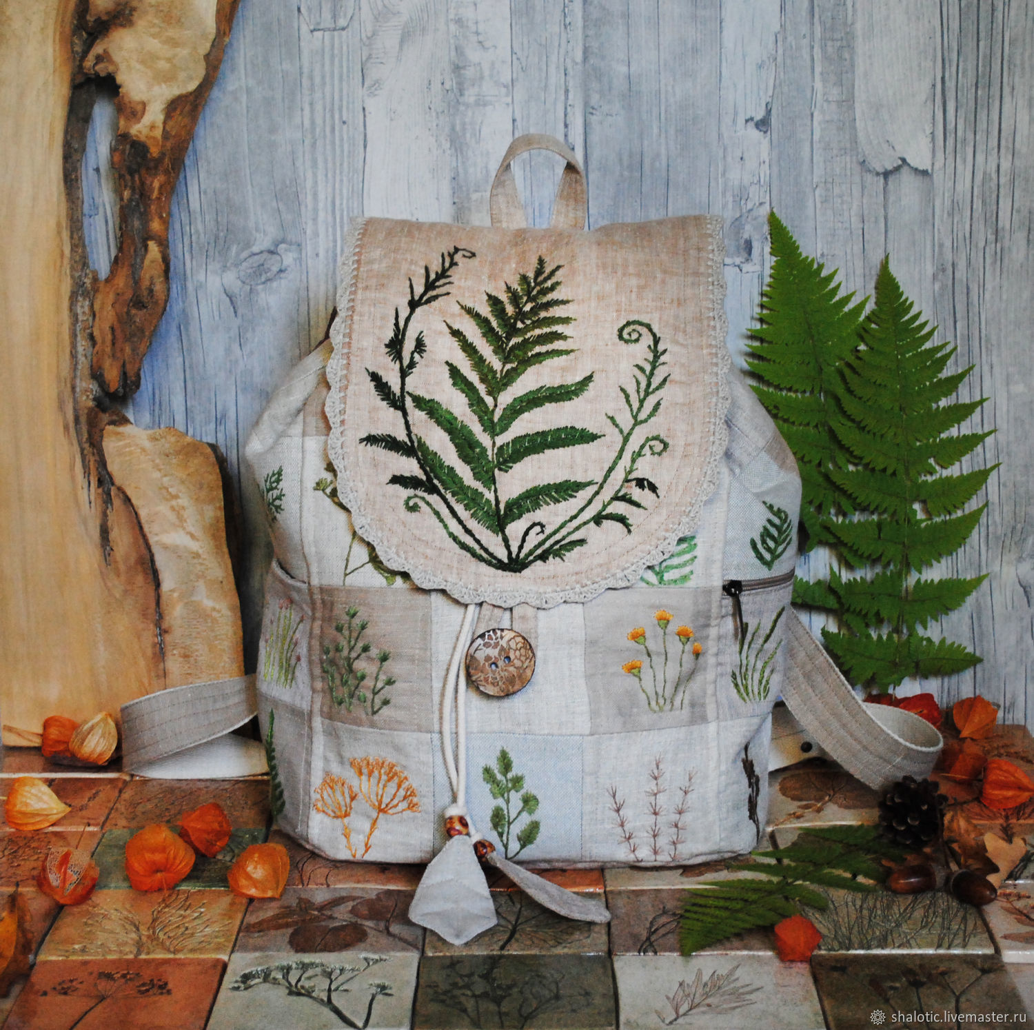Linen backpack. Bags and backpacks handmade. Embroidery, hand work. Author Julia Linen tale