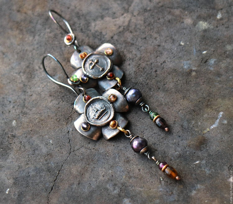 Серьги ручной работы. Ярмарка Мастеров - ручная работа. Купить CIAO, ROMA! серьги (серебро, латунь, нат.камни). Handmade.
