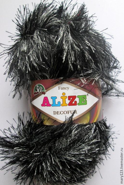 Вязание ручной работы. Ярмарка Мастеров - ручная работа. Купить Пряжа DECOFUR ALIZE (Травка, Турция) черно-белый. Handmade.