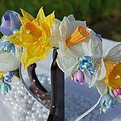 Украшения ручной работы. Ярмарка Мастеров - ручная работа Венок ободок цветы из ткани Весенние цветы. Handmade.