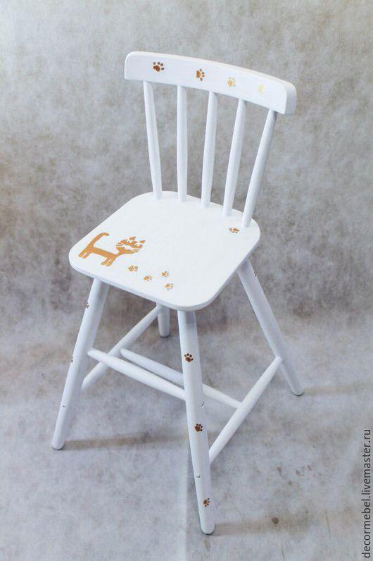 """Мебель ручной работы. Ярмарка Мастеров - ручная работа. Купить Детский стульчик """"Котенок"""". Handmade. Белый, кошечка, массив"""