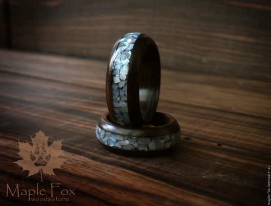 Кольца ручной работы. Ярмарка Мастеров - ручная работа. Купить Кольцо из дерева с перламутром. Handmade. Черный, кольца из дерева, перламутр