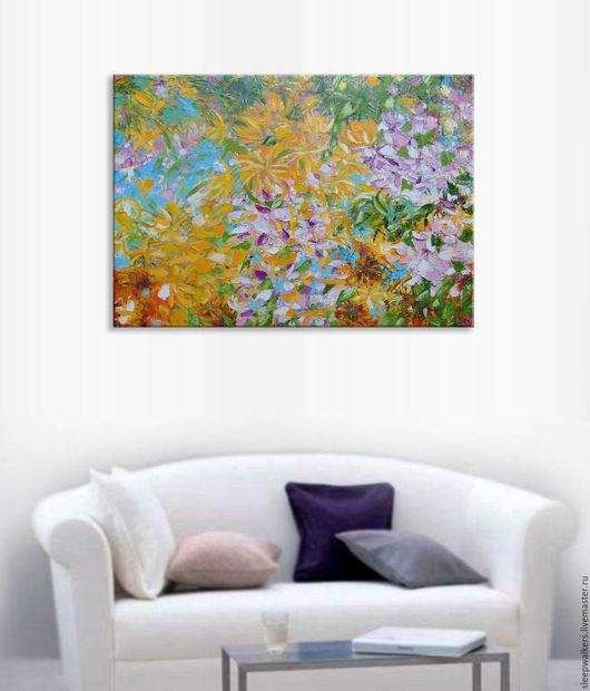 """Картины цветов ручной работы. Ярмарка Мастеров - ручная работа. Купить """"Summer bloom"""" 100х70 см большая картина маслом мастихином. Handmade."""