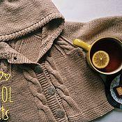 Работы для детей, handmade. Livemaster - original item Jacket buttoned hooded Merino beige spokes. Handmade.