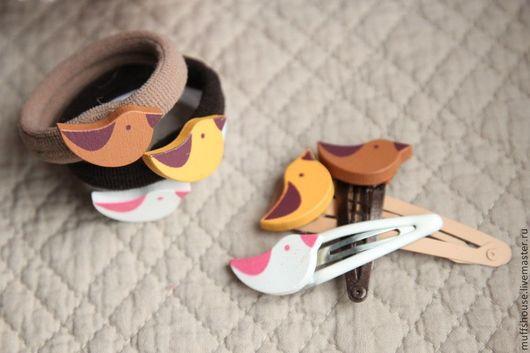 """Заколки ручной работы. Ярмарка Мастеров - ручная работа. Купить 2 шт """"Птенчики"""" заколочки и резиночки. Handmade. Розовый, птички"""