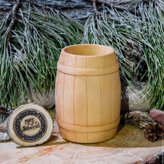 Кружки и чашки ручной работы. Ярмарка Мастеров - ручная работа. Купить Стакан Бочонок деревянный для чая кваса морсов из сибирского кедра #С5. Handmade.
