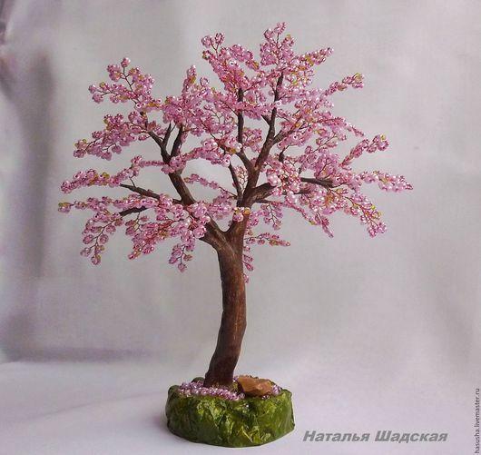 """Деревья ручной работы. Ярмарка Мастеров - ручная работа. Купить Сакура из бисера """"Подружка"""". Handmade. Розовый, бонсай из бисера"""