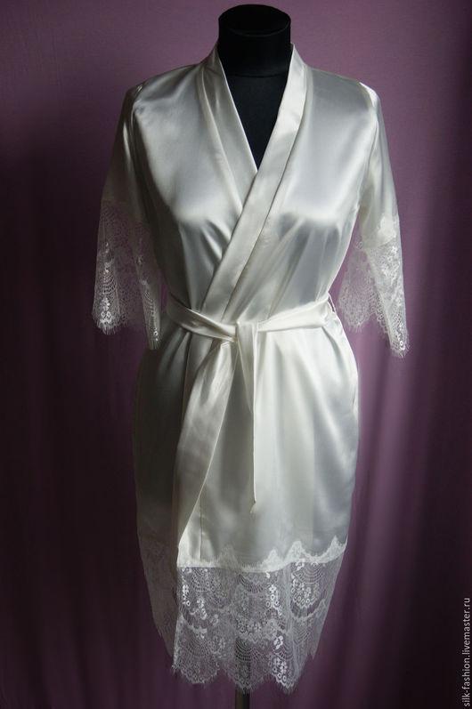Халаты ручной работы. Ярмарка Мастеров - ручная работа. Купить Халатик молочный или белый для утра невесты. Handmade. Белый