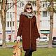 Верхняя одежда ручной работы. Пальто вязаное женское ШЕНОН шоколад. Мастерская UNIC. Ярмарка Мастеров. Пальто вязаное
