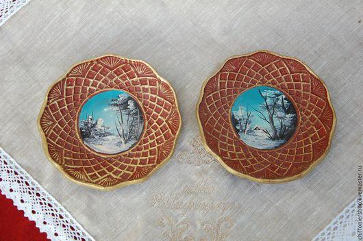 Винтажная посуда. Ярмарка Мастеров - ручная работа. Купить Декоративные винтажные тарелки с ручной масляной росписью. Handmade. Комбинированный, интерьер
