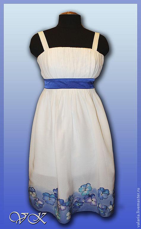 """Платья ручной работы. Ярмарка Мастеров - ручная работа. Купить Батик платье """"Фиалки"""". Handmade. Белый, голубой, батик платье"""