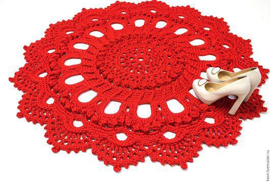 Текстиль, ковры ручной работы. Ярмарка Мастеров - ручная работа. Купить Вязаный ковер Уютный. Handmade. Ярко-красный, текстиль