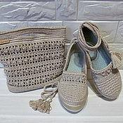 Туфли ручной работы. Ярмарка Мастеров - ручная работа Туфли: Комплект вязаный крючком туфли и сумка. Pollyanna. Handmade.