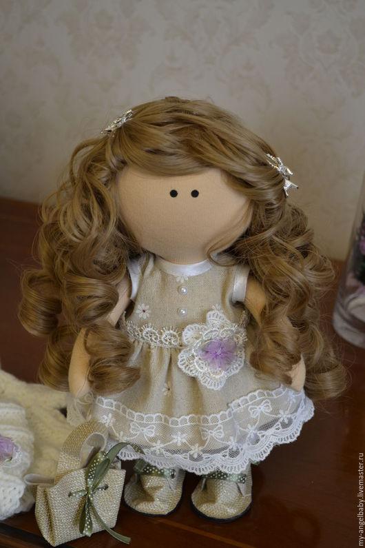 Куклы тыквоголовки ручной работы. Ярмарка Мастеров - ручная работа. Купить Интерьерная текстильная куколка. Handmade. Бежевый, хлопок