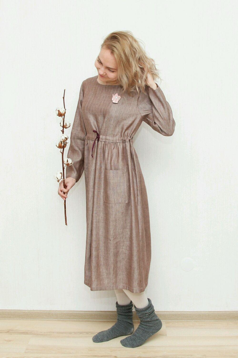 Платья ручной работы. Ярмарка Мастеров - ручная работа. Купить Полушерстяное платье Душевное. Handmade. Бежевый, теплое платье, льняной