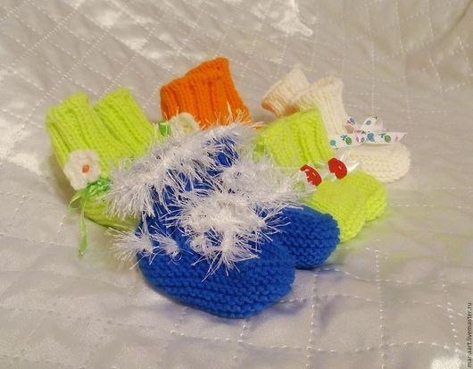 Носки, гольфы, гетры ручной работы. Ярмарка Мастеров - ручная работа. Купить Пинетки цвет микс. Handmade. Комбинированный, зеленый
