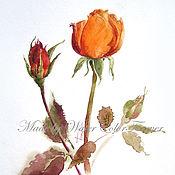Картины и панно ручной работы. Ярмарка Мастеров - ручная работа Акварель Осенняя роза. Handmade.