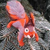 Украшения handmade. Livemaster - original item Felted Christmas tree decoration brooch Squirrel Roxie. Handmade.