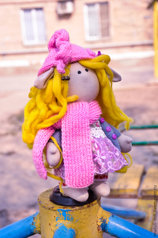 Человечки ручной работы. Ярмарка Мастеров - ручная работа. Купить Эльфиечка куколка. Handmade. Розовый, гномочка, интерьерная кукла, хлопок